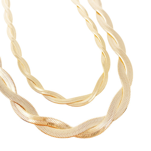 Gold twisted snake necklace