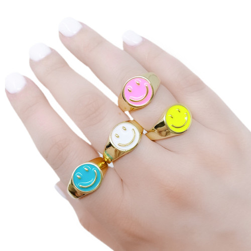 Colorful happy race signet ring
