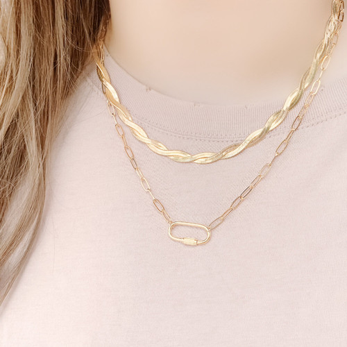 Gold carabiner necklace