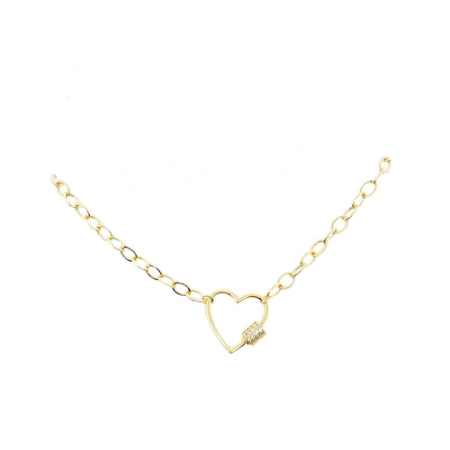 Gold chain necklace with heart shaped caribiner