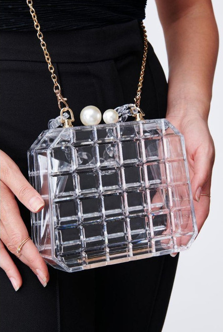 Pearl clasp clear clutch with crossbody chain strap and short acrylic strap