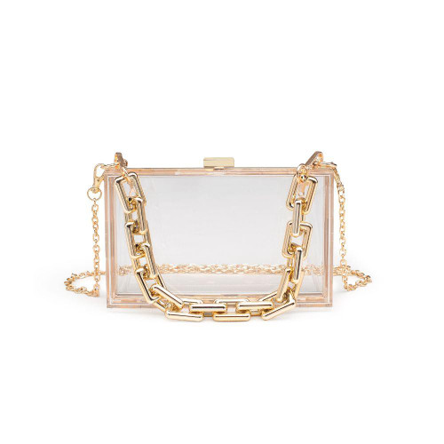 clear lucite clutch with short chain handle and crossbody chain strap
