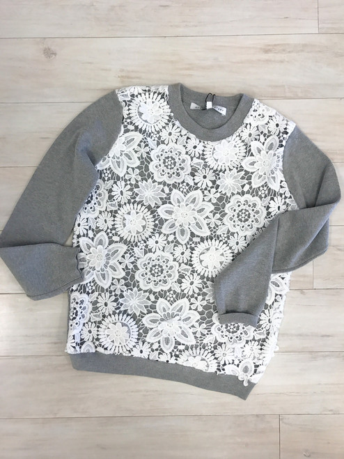Floral cut out sheer front sweatshirt