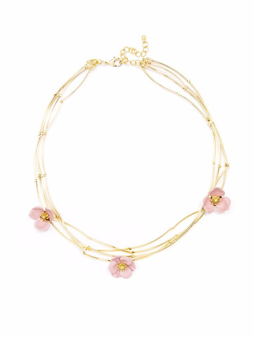 painted metal flower collar necklace