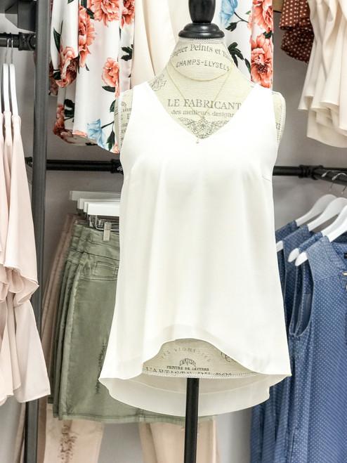 Women's high low v neck white chiffon tank top