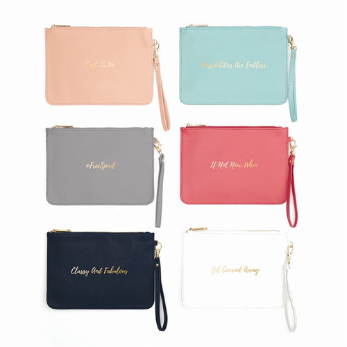 Large wristlet wallet with zipper closure and strap, gold foil quotes and sayings wristlet