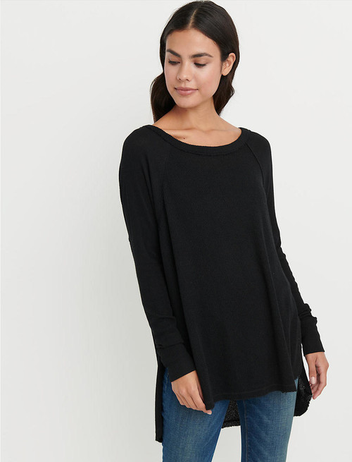 Women's black long sleeve thermal top