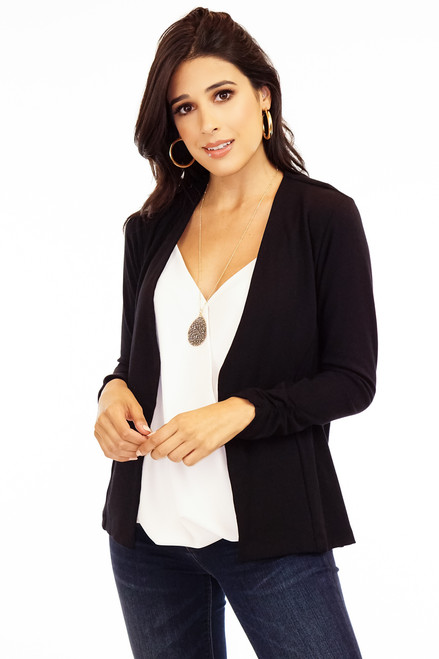 Black soft stretch ponti blazer jacket