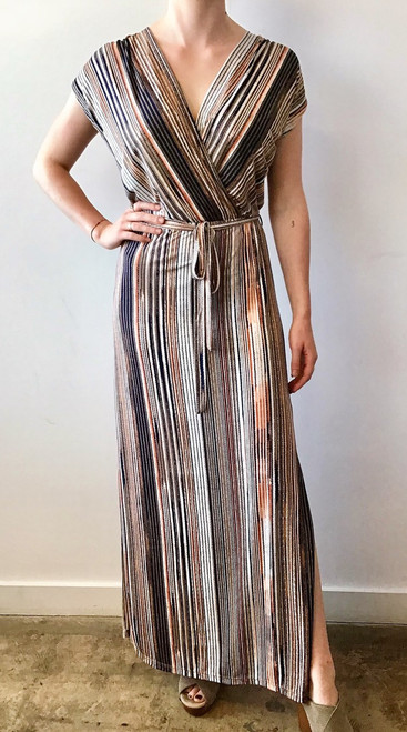 V neck maxi dress with tie sash at waist and side slit