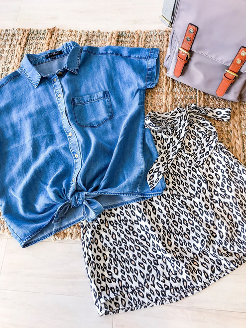 Classic denim short sleeve blouse