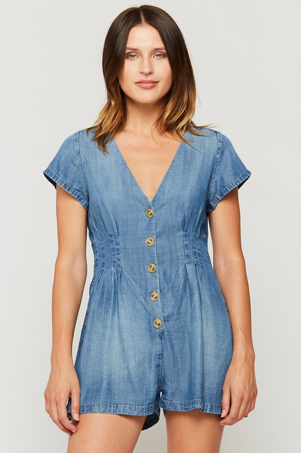 Denim tencel romper with buttons up front