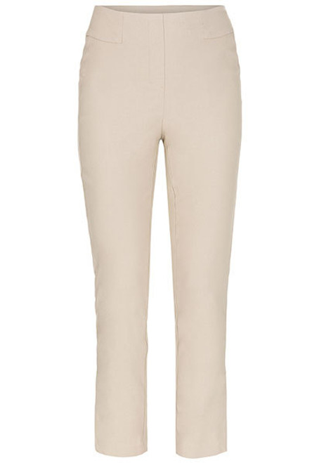 Khaki pull on ankle pant with side slit