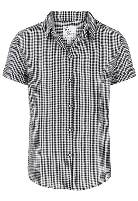 Short sleeve button up gingham blouse