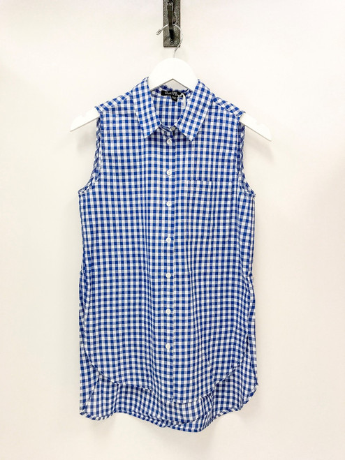 Sleeveless button up blue gingham blouse