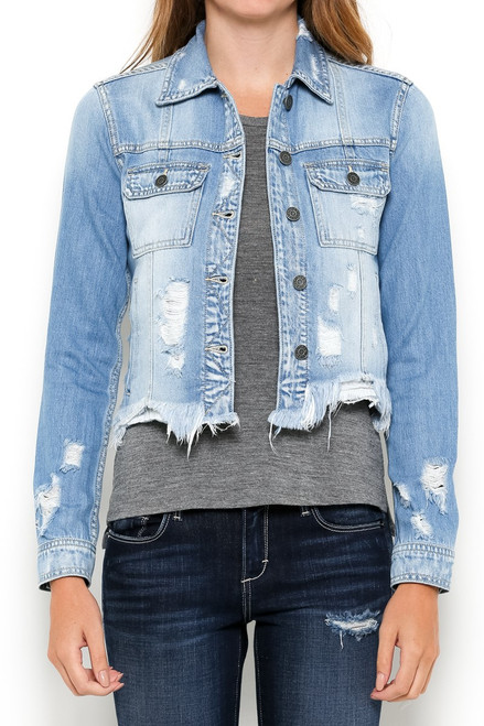 Distressed fitted denim jacket
