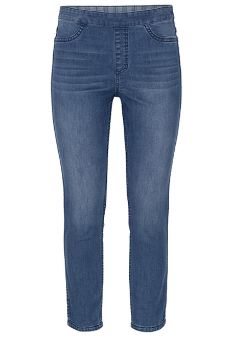 Reversible pull on ankle jean