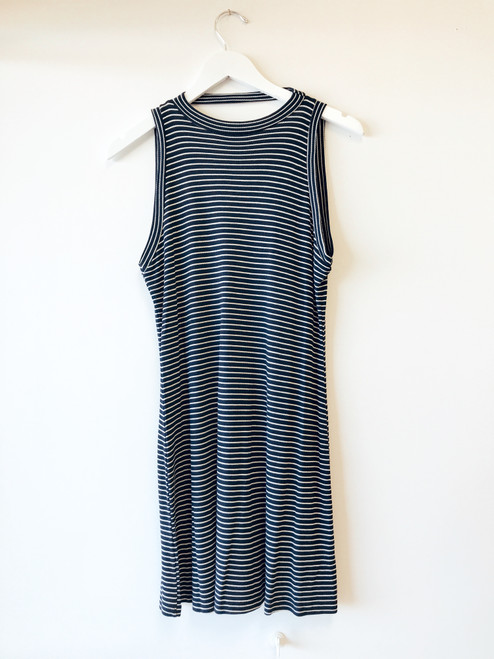 Women's navy and white stripe t shirt dress, casual dress, summer dress