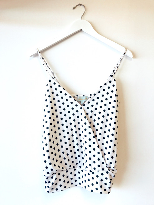 Women's white tank with black polka dots, cute tank top, summer tank