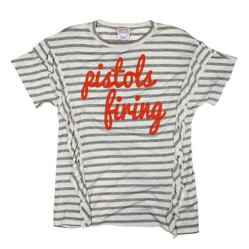 Pistols Firing stripe tee with ruffles, Oklahoma State University game day apparel
