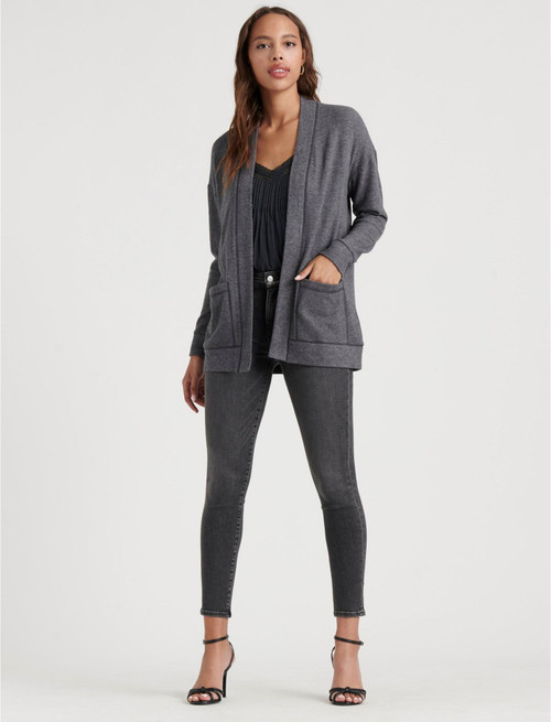 Women's gray cardigan, women's work wear, work clothes for women, women's cardigan