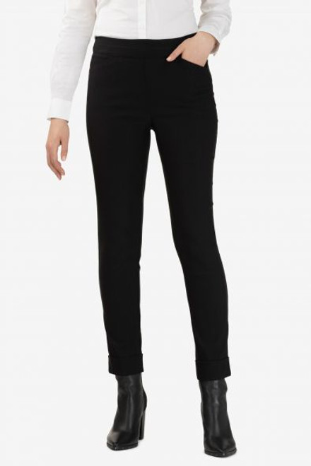Women's black cuffed work pant, women's work clothes, black slacks, black cigarette pant