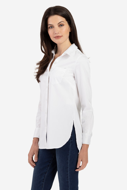 Women's basic white collared button up blouse