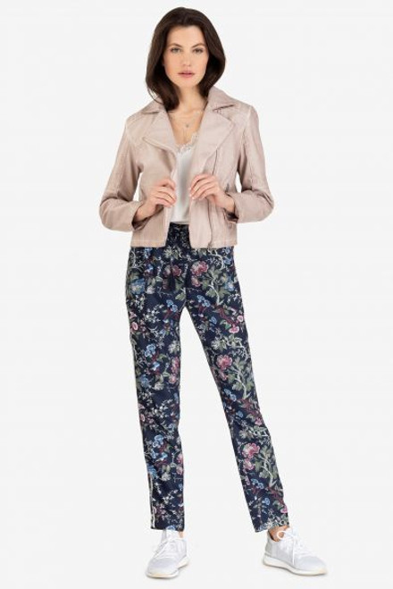 Navy printed pant with side piping and drawstring waist