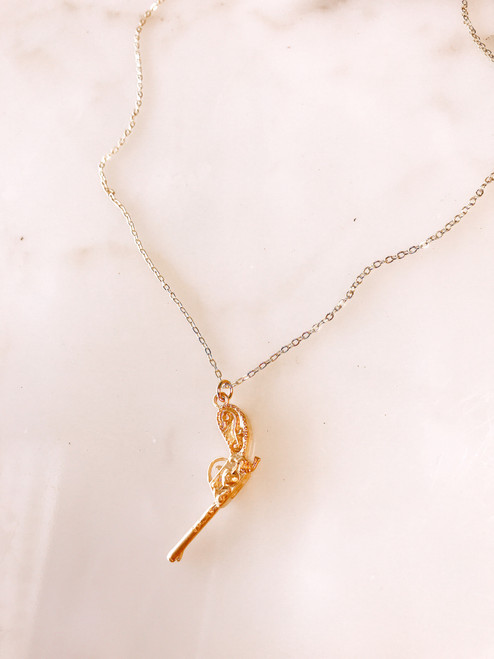gold plated pistol necklace