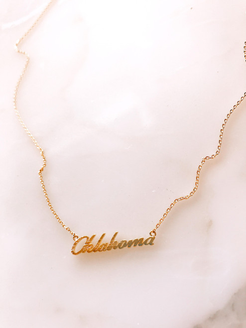 Oklahoma script gold plated necklace
