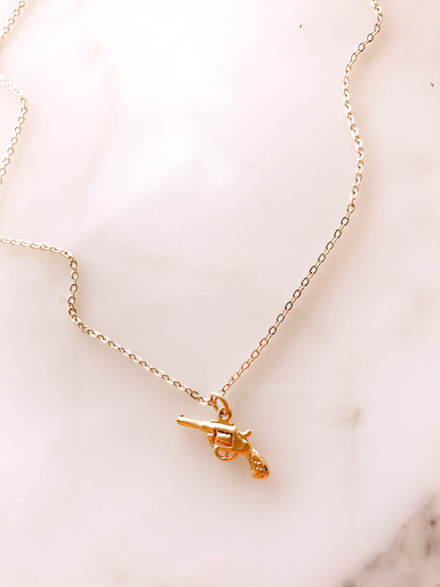 gold plated pistol charm necklace