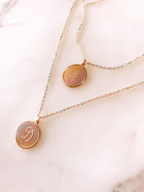 Gold plated monogram coin necklace