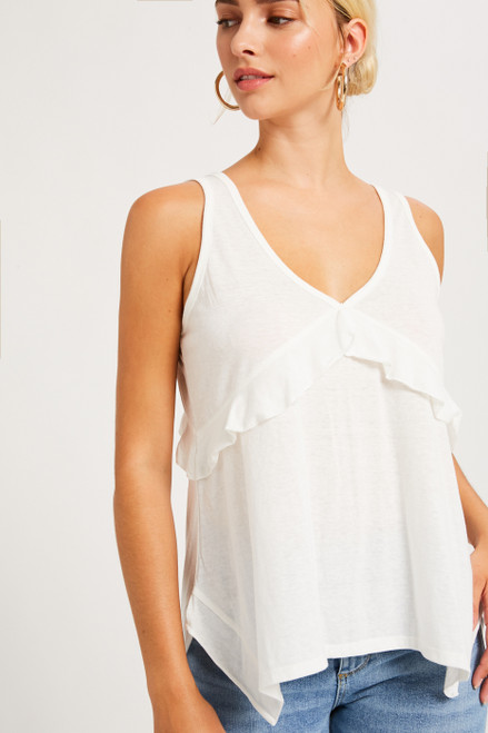 White cotton tank with ruffle detail
