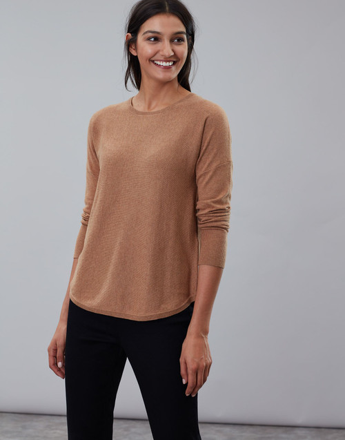 Women's tan round neck knit sweater, lightweight sweater, women's work clothes