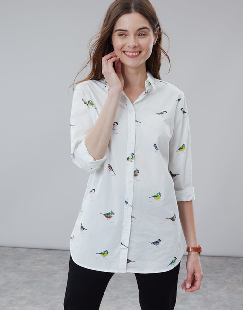 Women's button front white blouse with bird print, women's work clothes