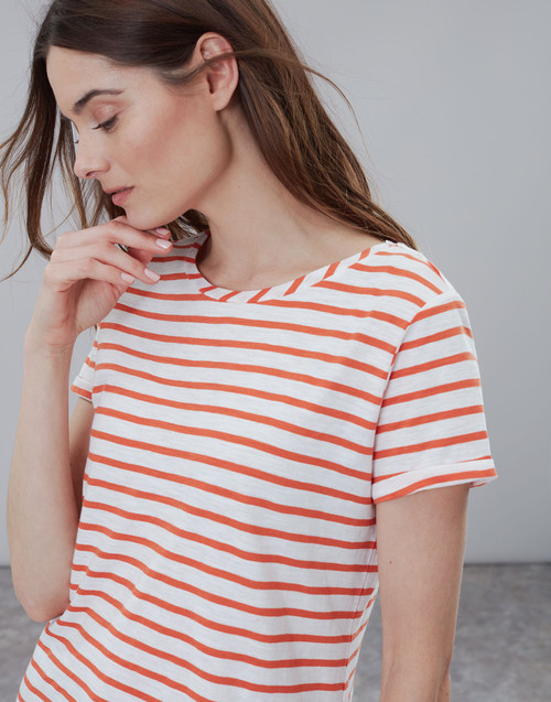 Women's orange and white stripe tee, women's game day apparel