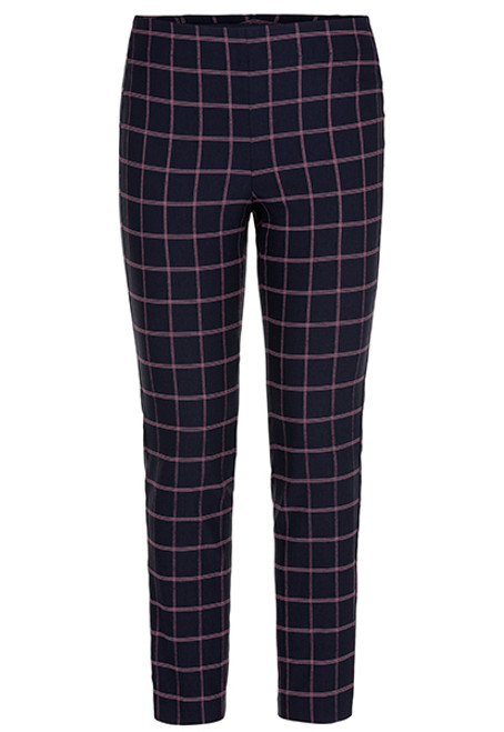Navy check pull on ankle pant, women's work wear, women's navy slack, women's navy cigarette pant