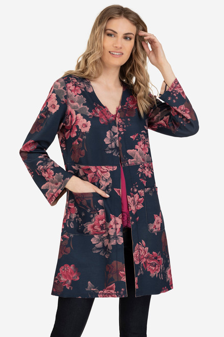 Women's floral suede long coat