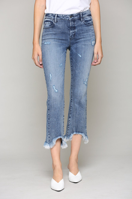 Women's cropped flare with frayed hem