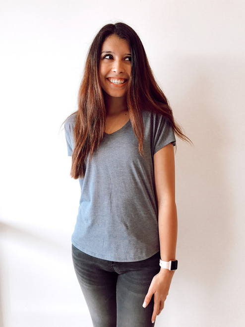 Women's grey v neck tee