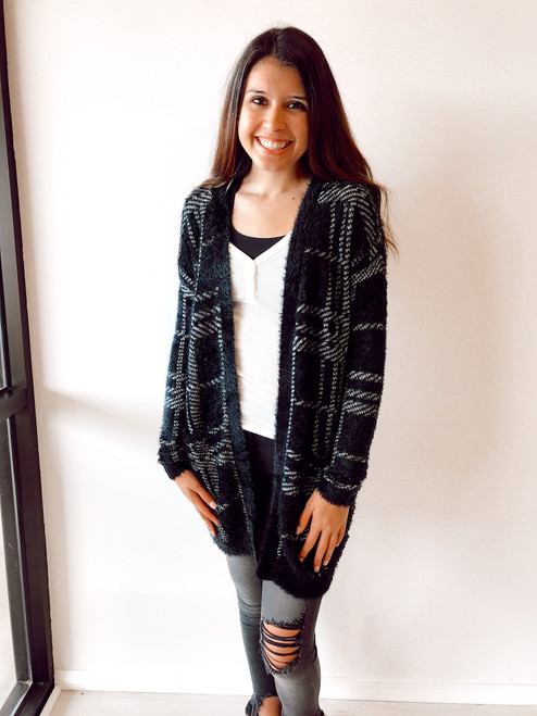 Women's black and white plaid cardigan