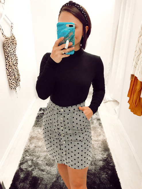 Women's polka dot wool skirt