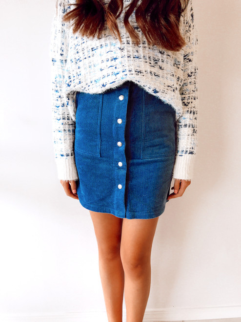 Women's blue corduroy button up skirt