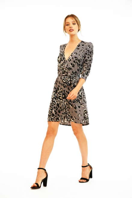 Women's leopard wrap dress, work dress