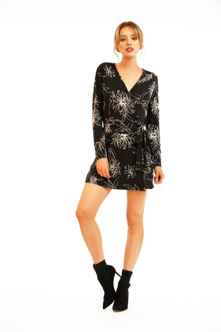 Women's black floral faux wrap romper that looks like a dress