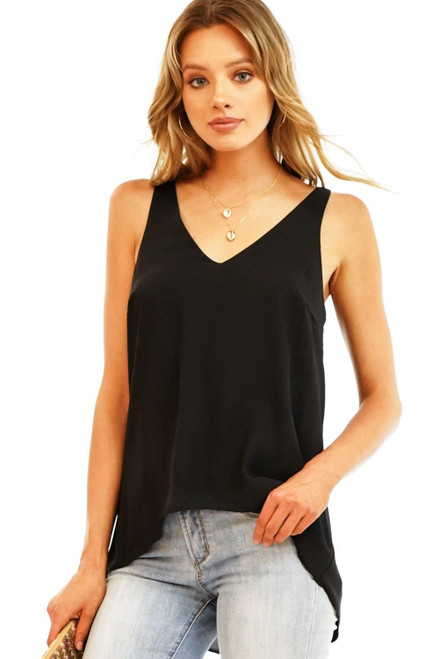 Women's fully lined black chiffon v neck tank