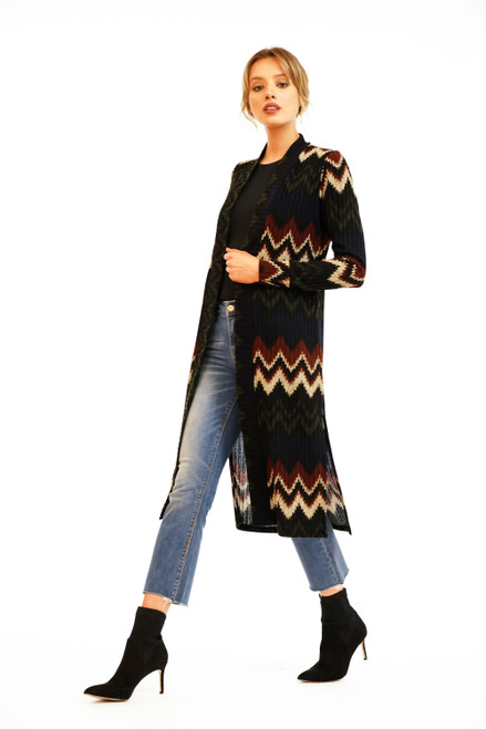 Women's fall chevron duster cardigan