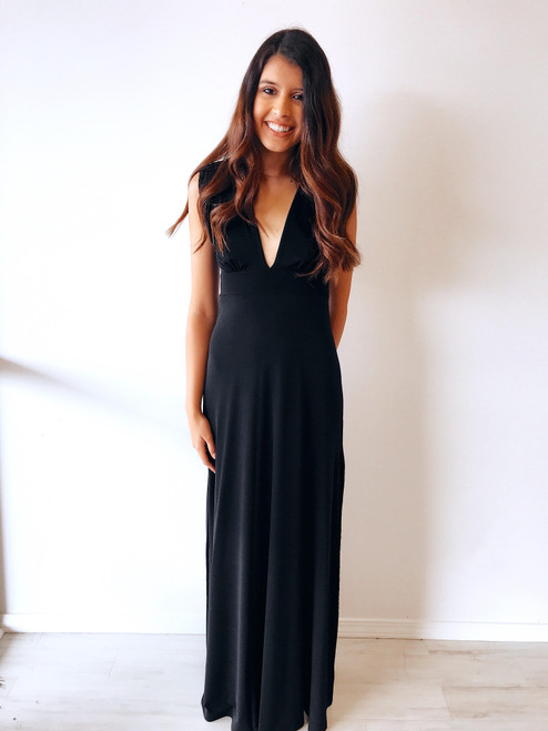 Women's stretch black maxi dress, gala dress, special occasion dress