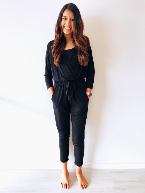 Women's sleeved black jumpsuit