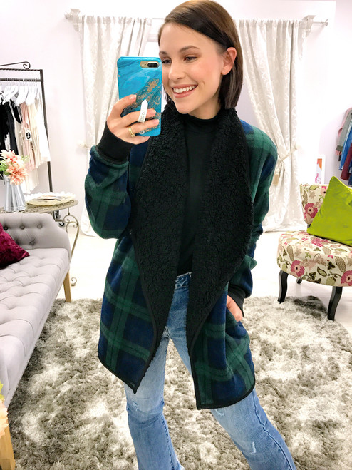 Women's green and blue plaid sherpa lined jacket