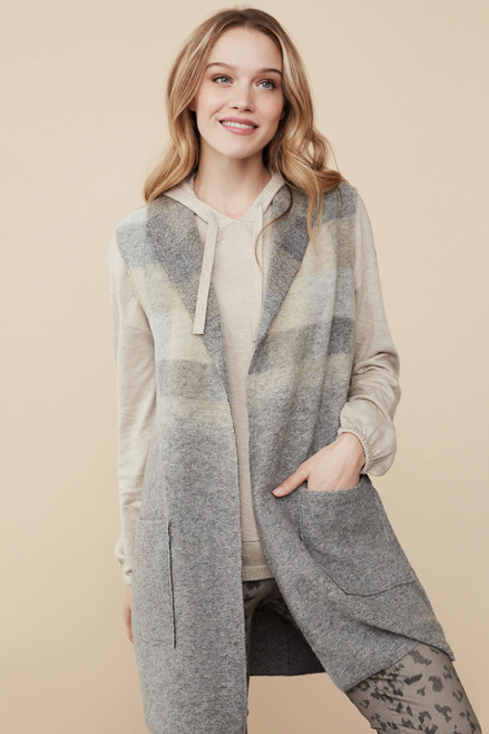 grey tan shawl collar vest